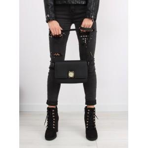 Elegantní dámská černá crossbody kabelka s ozdobou a nastavitelným ramínkem