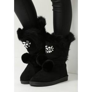 Elegantní černé dámské sněhule s kožešinou