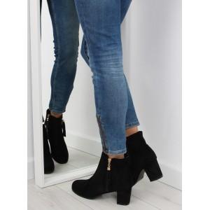 Černé dámské kotníkové boty na podpatku se zapínáním na zip