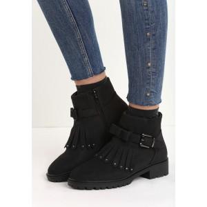 Kotníkové dámské boty černé barvy s mašličkou a třásněmi