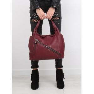 Dámské kabelky na rameno v bordó barvě se zipem a vybíjením