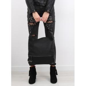 Jednoduchá dámská kabelka na rameno černé barvy ozdobena zipem