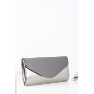 Stříbrno šedá dámská večerní kabelka s řetízkovým ramínkem