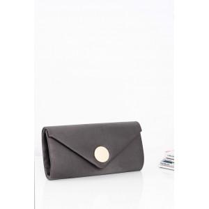 Jednoduchá dámská večerní kabelka šedé barvy se zlatým zapínáním