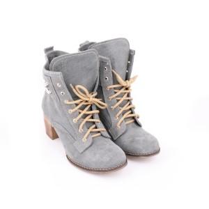 Moderní kožené boty šedé barvy pro dámy