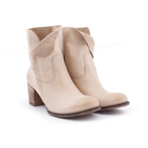 Kožené moderní dámské boty na zip béžové barvy