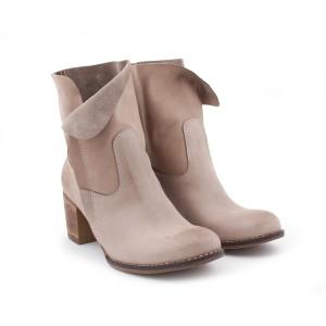Kožené stylové boty pro dámy se zipem na boku kapučínové barvy