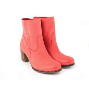 Červené kotníkové kožené boty pro dámy na každou příležitost