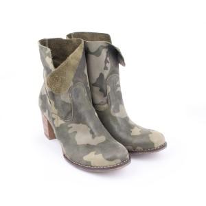 Maskáčový moderní kožené boty na vysokém podpatku se zipem