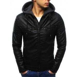 Moderné pánske kožené bundy čiernej farby s kapucňou