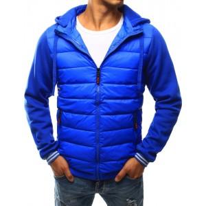 Sportovní modrá pánská přechodná bunda se zapínáním na zip