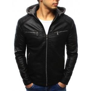 Pánská černá kožená bunda s kapucí a dvěma kapsy na zip