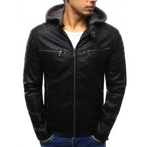Pánska čierna kožená bunda so zapínaním na zips