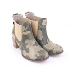 Moderní maskáčové boty na vysokém hrubým podpatku pro dámy