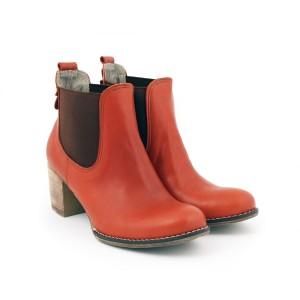 Dámské kožené boty na tlustém podpatku hnědí barvy