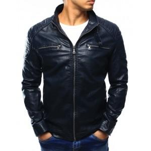 Moderní tmavě modrá pánská kožená bunda s náprsními kapsami