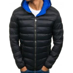 Prošívaná pánská zimní bunda s kapucí černé barvy