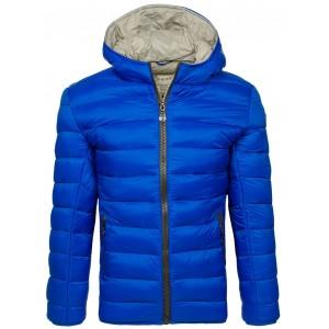 Hrubá pánska prešívania bunda na zimu v modrej farbe