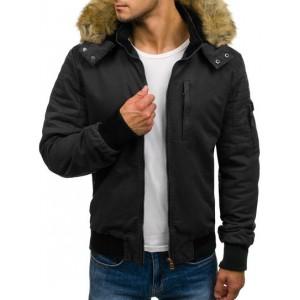 Pánská bunda na zimu s krátkým střihem černé barvy