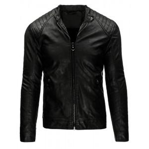Pohodlná pánská přechodná kožená bunda černé barvy se zipy na rukávech
