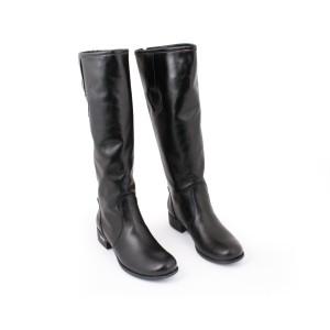 Černé kožené kozačky pro dámy na zip na podpatku