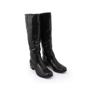 Kožené kozačky pro dámy lesklý černé barvy se zlatou aplikaci na podpatku