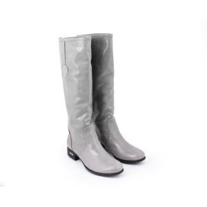 Lesklé šedé vysoké kožené kozačky pro dámy na podpatku