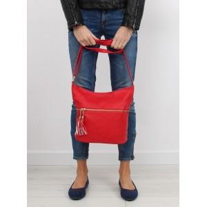 Luxusní dámské kabelky na rameno červené barvy se zipem na přední straně