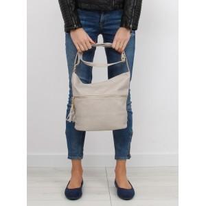 Dámská kabelka na rameno béžové barvy s třásněmi na přední straně
