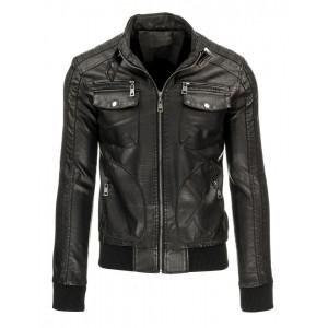 Černá pánská přechodná kožená bunda s kapsami a zipy