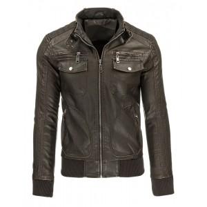 Hnědá pánská přechodná kožená bunda na zip s náprsními kapsami