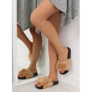 Béžové dámske chlupaté moderné nazouváky