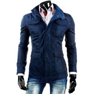 Prodloužená tmavě modrá pánská přechodná bunda s kapsami