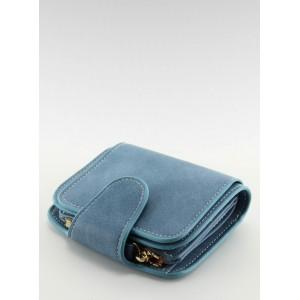 Malé dámské peněženky do kapsy v modré barvě s chlopní
