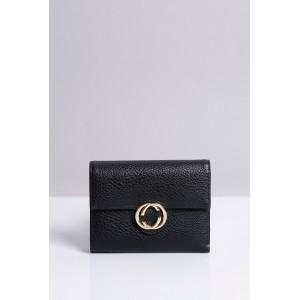 Černé dámské peněženky do kapsy se zlatou sponou