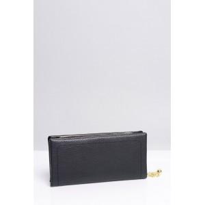 Jednoduché dámské peněženky v černé barvě se zlatou aplikací