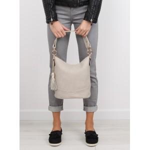Béžová dámská kabelka do ruky se zlatými kroužky na řemínku