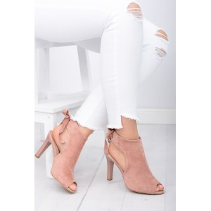 Růžová dámská semišová obuv s otevřenou špičkou a podpatkem
