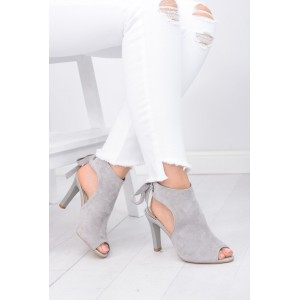 Šedé dámské boty na vysokém podpatku s otevřenou špičkou a vázáním vzadu