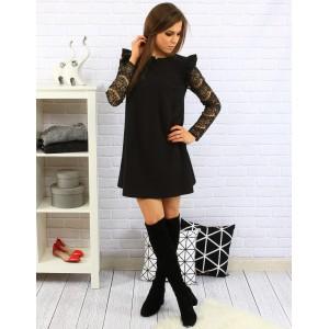 Volné černé dámské šaty nad kolena s dlouhými vzorovanými rukávy