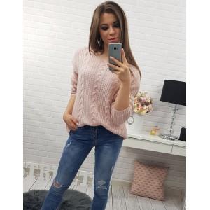 Světle růžové dámské pletené svetry se vzorem na každý den