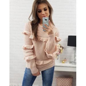 Růžové dámské pletené svetříky s dlouhými rukávy a volány