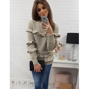 Moderní dámský svetr béžové barvy s volány a kulatým výstřihem