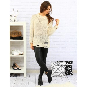 Béžový dámský pletený svetr moderního střihu s dlouhými rukávy pro volný čas