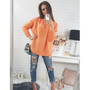 Volné oranžové dámské pletené svetry s dlouhým rukávem pro volný čas