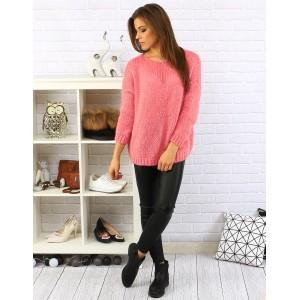 Moderní růžový dámský pletený pulovr s kulatým výstřihem a dlouhým rukávem