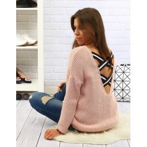Dlouhé růžové dámské pletené svetry s výstřihem na zádech