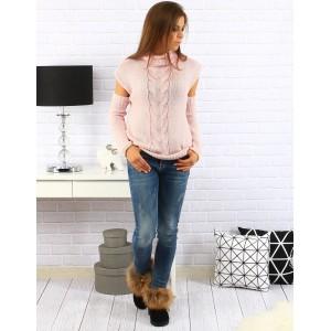 Moderní dámský svetr v růžové barvě s rolákem