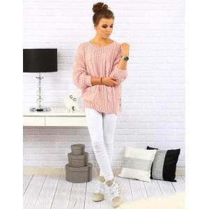 Růžové dámské pletené pulovry volného střihu se vzorem