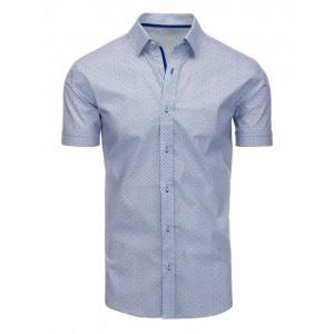 Elegantní bílá pánská košile s krátkým rukávem a modrým vzorem